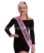 Women's It's My Birthday Rose Pink Glitter Sash Party Fancy Dress Accessory