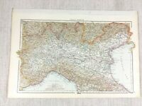 1898 Antik Map Of Northern Italien Piemont Ligurien Lombardy Alte 19th Century