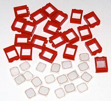 LEGO LOT OF 20 NEW RED FRAME WITH GEOMETRIC PATTERN ON WINDOW PARTS