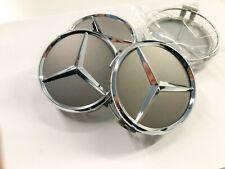 4x Nabendeckel für MERCEDES AMG Himalaya Grau 75mm Nabenkappen Felgen Rad