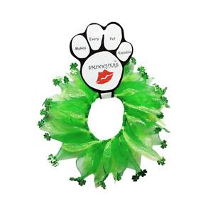 "St. Patrick's Day Shamrocks Smoocher Dog Party Collar (Large 16""-19"")"