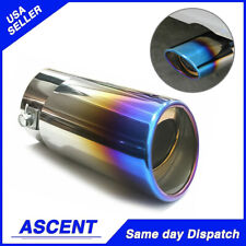 1x 58mm Car Exhaust Pipe Muffler End Tip Stainless Steel Tail Throat Pipe Blue