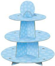 Présentoir à Cupcakes De Baby Shower à Pois Bleu Décoration De Fête