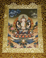 Ältere Buddha THANGKA Avalokiteshvara Chenrezig TIBET i BROKAT aus Nepal 83x46cm