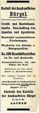 Bürgel Aquisgrana cartello della auskunfteien storica la pubblicità 1908