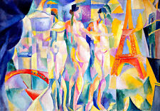 La ville de Paris by Robert Delaunay A4 High Quality Canvas Art Print