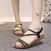Summer Women's Slingbacks Sandals Open Toe Casual Flats Roma Beach Shoes Slip On