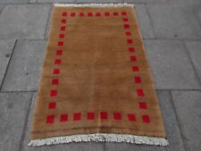 Traditional Tribal Hand Made Persian Gabbeh Oriental Brown Wool Rug 145x100cm
