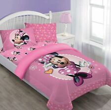 3pc Disney Minnie Mouse Comforter Fitted Sheet Pillow Case Bedding Set Twin Size
