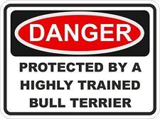 Dog Breed BULL TERRIER Danger Sticker Pet for Bumper Locker Car Door