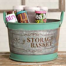 Large Galvanized Storage Basket with painted decorative artwork with handle