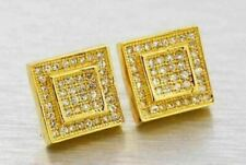 Lab Made SIMULATED DIAMOND 14K Gold Finish 11mm Earrings Hip Hop Square