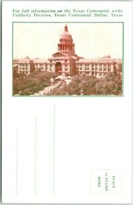 """Austin Chamber of Commerce  Postcard """"Description of the TEXAS CAPITOL BUILDING"""""""