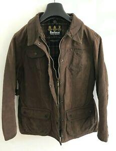 Womens Barbour Trim Utility Jacket Coat size 12/14 M/L Brown Wax Cotton Lined