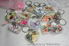 Vintage flower fairies heart shaped key ring gift Poppy Rose choose any fairy
