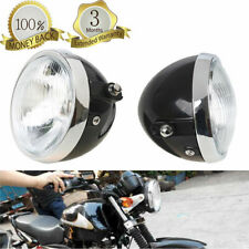 "6"" Universal Motorcycle Retro Black Headlight Headlamp Round High Low Beam"