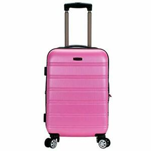 Rockland Melbourne Hardside Expandable Spinner Wheel Luggage Pink Carry-On 20...
