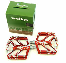 WELLGO B-252 Low Profile MOUNTAIN BIKE/BMX DOWNHILL/FREERIDE PEDALS, Red