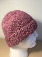 Knitted 100% Handspun Sheep Wool Beanie PINK -  Size Medium