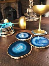 Teal Agate 24ct Gold Edge, Gilded, Quartz Premium Coasters (set of 4)