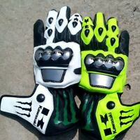 NINJA FLURO GREEN MOTOGP MOTORBIKE MOTORCYCLE COWHIDE LEATHER BIKERS GLOVES