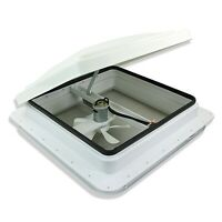 """14"""" RV trailer Roof vent complete 12 volt FAN w/ white lid and interior garnish"""
