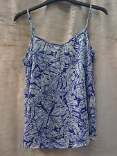 Summer sun blue and white silky cami top size 8 holiday beach