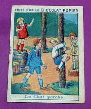 JEUX D'ENFANTS LE CHAT PERCHE CHROMO CHOCOLAT PUPIER JOLIES IMAGES 1930