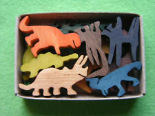 Mini Match Box Dinosaur Prehistoric T Rex  Set  Hand Cut Wooden Miniature Toy