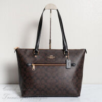 NWT Coach F79609 Gallery Tote in Signature Canvas Brown Black
