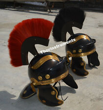 Medieval Armour Roman Helmet 2 Pieces Set Withe Black & Red plume