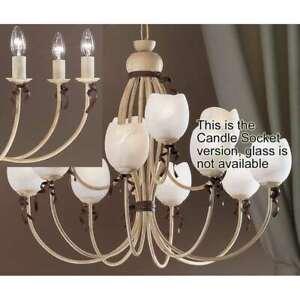 Classic Lighting Belluno Wrought Iron Chandelier, Ivory-Brown - 3659IB
