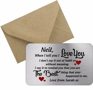 I love you metal wallet card personalised love valentines boyfriend girlfriend