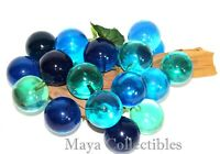 """Mid Century Lucite Grape Cluster Sculpture On Driftwood Blue Turquoise 11"""" long"""