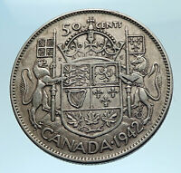 1942 CANADA WWII Time SILVER 50 Cents Coin UK King GEORGE VI Coat-of-Arms i77526