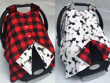 Baby Car seat Cover Deer Buck in Black - Cream with Red Buffalo Plaid Flannel