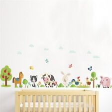 Lovely Animals Farm Wall Stickers Home Decoration Kids Room Bedroom Cow Horse