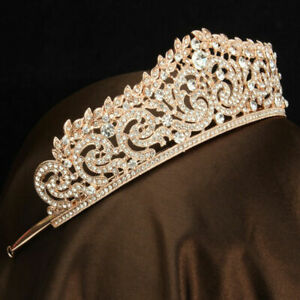 Rose Gold Wedding Bridal Crystal Crown Tiara Rhinestone Hairband For Pageant