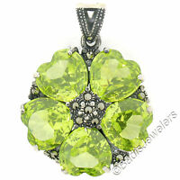 Sterling Silver Heart Peridot & Marcasite Flower Round Cluster Pendant w/ Chain