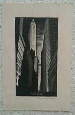C.1930'S WOODCUT-LINOCUT...NEW YORK CITY SKYSCRAPERS,OLD CARS by FRANKS W. PEERS