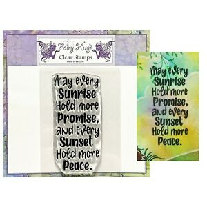Sunrise Sunset Cling Stamp words sentiments Fairy Hugs Clear Stamps FHS-197
