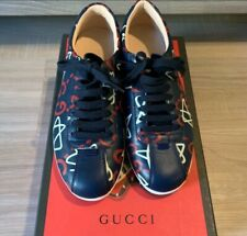 GUCCI Women's Gucci Ghost Print Low Top Sneakers size 6.5 Blue