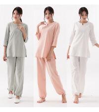 Women Vintage Cotton Linen Suit Sport Yoga Costume Kung Fu Tai Chi Wear soft