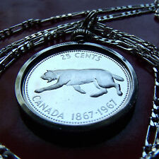 """1967 SILVER CANADA LYNX COIN Pendant on 30"""" 925 Sterling Silver Chain,  26mm"""
