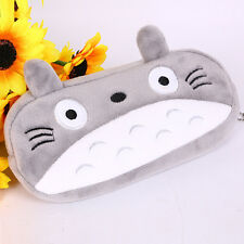 New Gray Big face Cat Plush Cartoon Cloth Makeup Zipper Bag Pen Pencil Case Hot