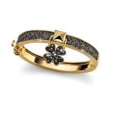 Lucky Clover Metallic Gold Black Bracelet Swarovski Elements Oliver Weber