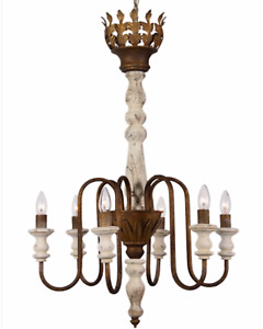 Large Chandelier Traditional Spin Wood and Metal 6 Bulb Light Fixture