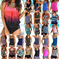 Plus Size Women Blouson Sporty Tankini Set Swimwear Boho Bathing Bikini Swimsuit