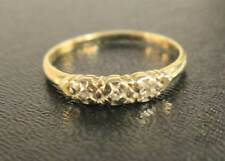 Vintage 14kt Yellow Gold Diamond Wedding Band 3 Round Brilliant Diamonds Sz 8.5
