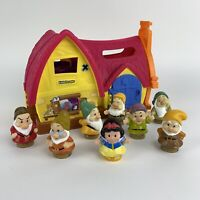 Fisher-Price Disney Little People Princess Snow White's Cottage & 7 Dwarfs Rare